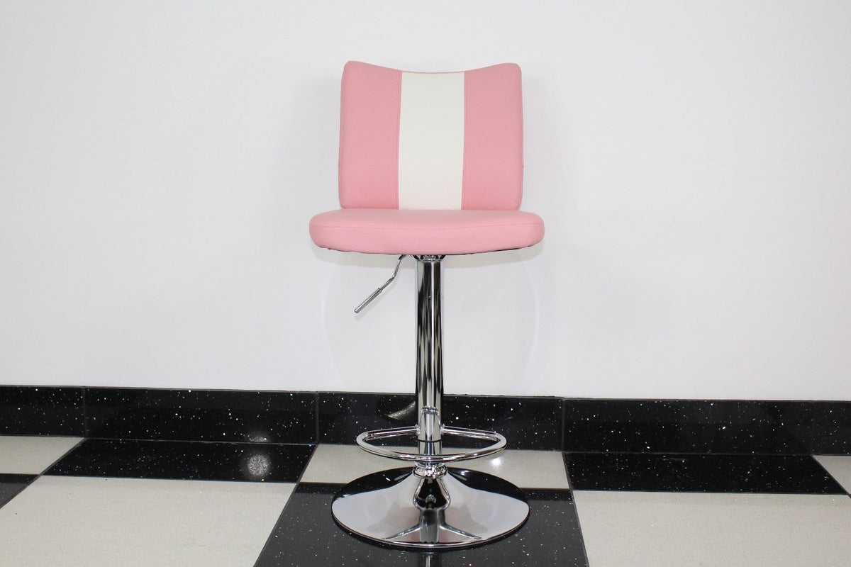 pink bar stool with back pad  just americana