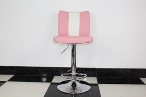 Pink Bar Stool With Back Pad