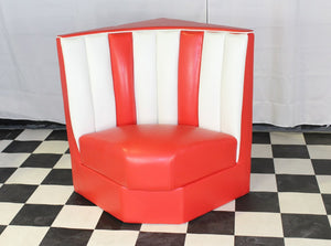 Red retro corner booth