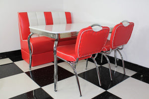 Red Booth, 2 Chairs and White Four Legged Table