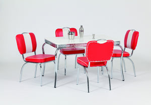 Four Red Chairs With White Four Legged Table