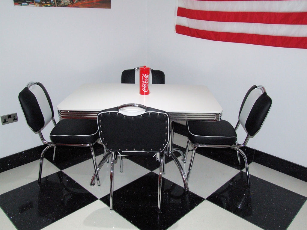 Retro Booth Table With Four Chairs Black