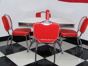Ronnie Red Retro Booth Table With Four Chairs in Red
