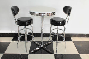 Shiny Black Bistro Set with Claw Base Table