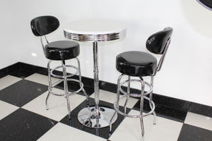 Shiny Black Bistro Set with Round Base Table