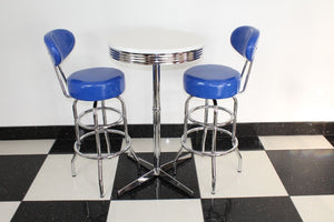 Shiny Blue Bistro Set with Claw Base Table
