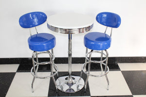 Shiny Blue Bistro Set with Round Base Table