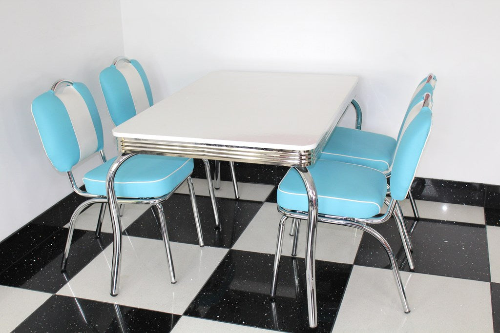 Smith's Retro Table with Four Chairs in Blue