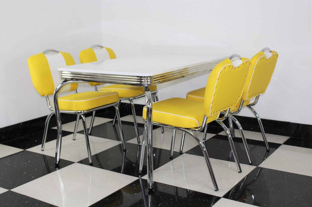 Retro Table With Four Chairs Yellow