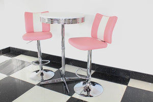 Pink Bistro Set with Claw Base Table