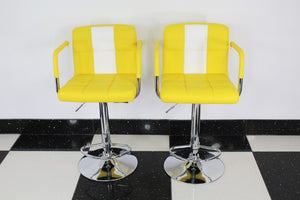 Yellow/White Stools With Arms x2