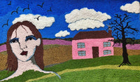 View and buy original textile artwork by Selby Hurst Inglefield online at The Biscuit Factory. Image shows a textile tapestry of a colourful landscape interrupted by a portrait of brunette with pale skin with a collection of silhouetted birds above.