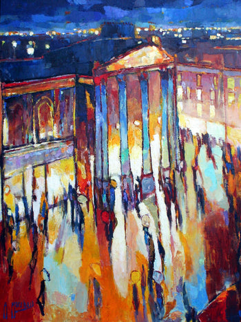 View and buy original paintings and prints by Anthony Marshall. Image shows an abstract landscape painting of the Theatre Royal in autumnal reds and oranges contrasted with various shades of blue