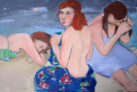 View and buy paintings by Basia Roszak at The Biscuit Factory. Image shows a painting of 3 bathers on the beach.