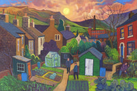View and buy colourful oil paintings by Chris Cyprus at The Biscuit Factory. Image shows a bright landscape painting depicting a collection of allotments surrounded by country houses with green hills and a pastel sky.