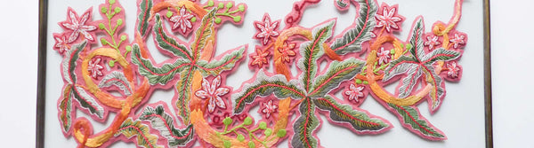 View and buy original embroidery and paper cut wall-hangings by textile artist Lucy Freeman at The Biscuit Factory