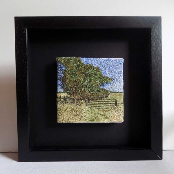 View and buy handmade original textile landscapes by Lucy Reid at The Biscuit Factory