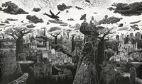 View and buy original artwork by Ade Adesina. Image is of a black and white intricate linocut of an otherworldly city featuring whales and boats flying amongst the clouds.