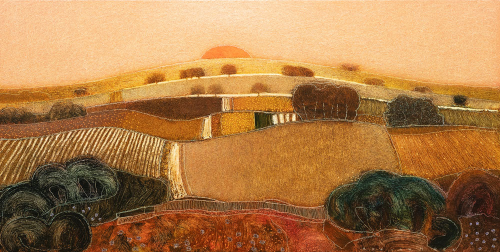 'Slow Down, Sundown', an original painting by Dutch artist Rob Van Hoek at The Biscuit Factory. Image shows an oil painting of an abstracted landscape in golden yellow and orange hues depicting the patterned fields of the countryside stacked up ending with a semi circle sliver of sun at the top and darker green layers at the bottom.