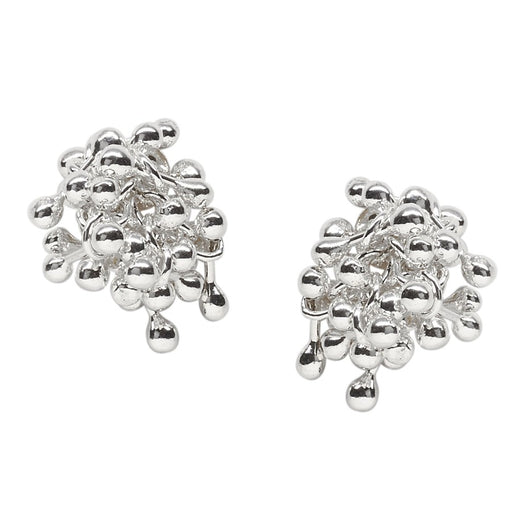 Buy 'Molecule Cluster Earrings', silver earrings by Yen. Image shows a pair of stud earrings with a cluster of silver bars with balls at either end fastened into a cluster to the posts. The background is white
