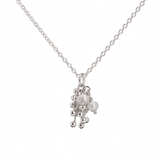 Buy 'Molecule Joy Pearl Cluster Necklace', silver pendant necklace with pearls by Yen. Image shows a silver chain with a pendant hanging in the middle on a white background. The pendant is a cluster of small silver bars with balls at either end and pearl beads fastened together.