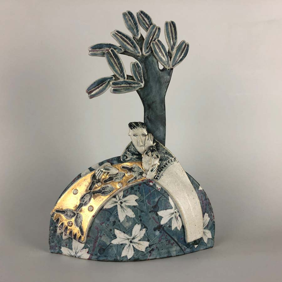 Buy 'Relaxing amongst the flowers', a handmade ceramic sculpture by Helen Martino at The Biscuit Factory.