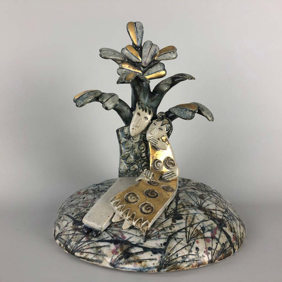 Buy 'In the shade of the tree', a handmade ceramic sculpture by Helen Martino at The Biscuit Factory.