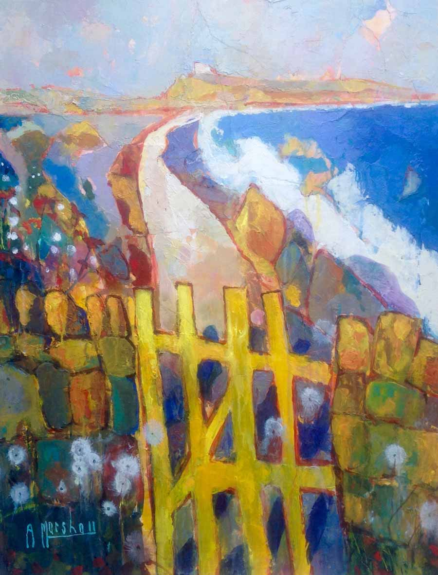 Buy 'Autumn Gate, Dunstanburgh', an original painting by British artist Anthony Marshall at The Biscuit Factory, Newcastle upon Tyne.