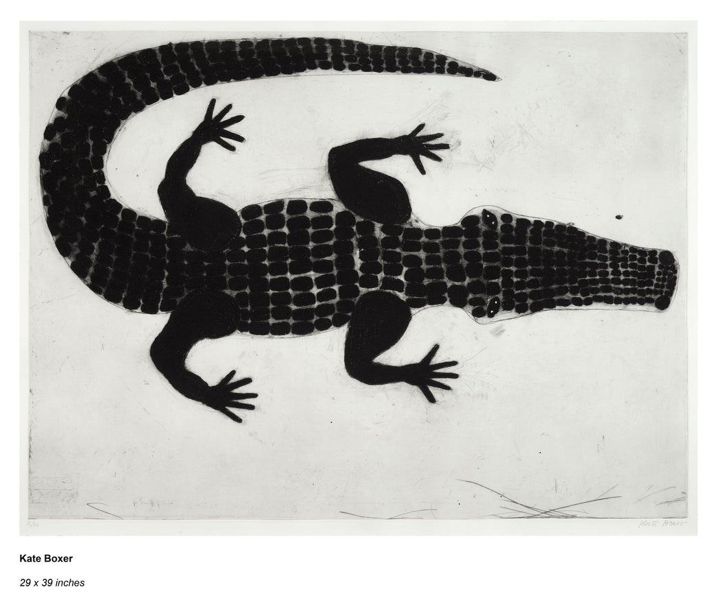 Buy 'Alligator' a black and white mixed media print by Kate Boxer. Image shows a black and white print of an alligator in a sketched abstract style..