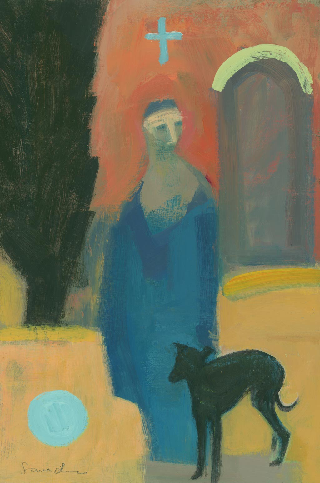 Buy 'Angel and Dog', original painting by Carol Saunderson at The Biscuit Factory