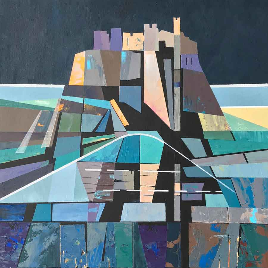 Buy 'Lindisfarne Castle, Night', an original painting by Judith Appleby at The Biscuit Factory.