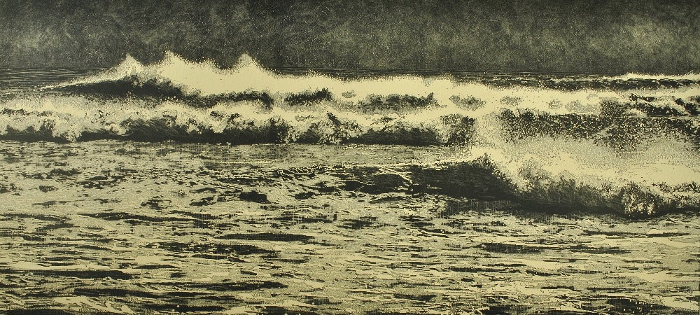 Buy 'Breaking Waves', an original mixed media artwork by Trevor Price at The Biscuit Factory. Image shows a monochrome etching of a seascape, the full scene displaying crashing waves with a pale green hue