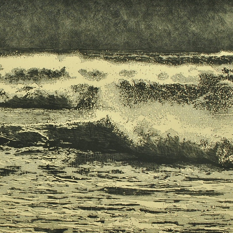 Buy 'Breaking Waves', an original mixed media artwork by Trevor Price at The Biscuit Factory. Image shows a detail shot of a larger print - a monochrome etching of a seascape, the full scene displaying crashing waves with a pale green hue