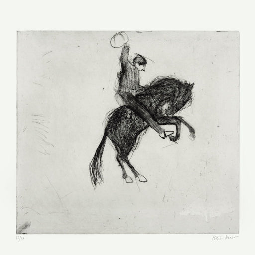 Buy 'Bucking Bronco' a large mixed media print by Kate Boxer. Image shows a monochrome drypoint sketched print of a horse rider upon a leaping black horse. The overall image has a grey hue and the paper can be seen in contrast around the edge.