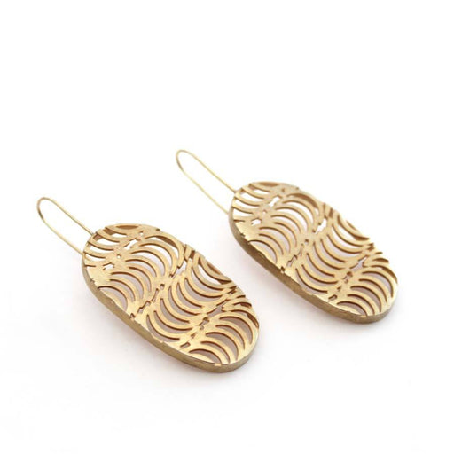 Buy 'Cadence Drop Earrings (Gold)' handmade jewellery by Caitlin Hegney at The Biscuit Factory, Newcastle upon Tyne.