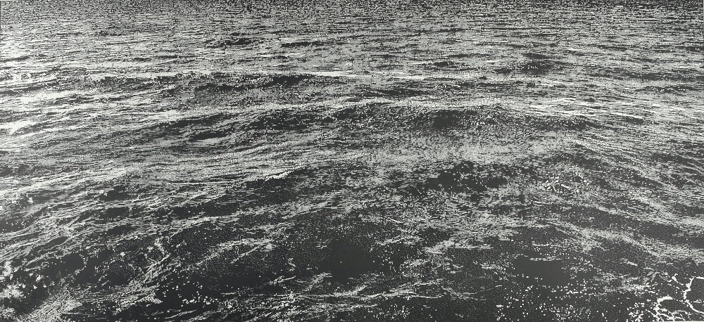 Buy 'Chop Waves', an original mixed media artwork by Trevor Price at The Biscuit Factory. Image shows a black and white print of small waves in a calm sea