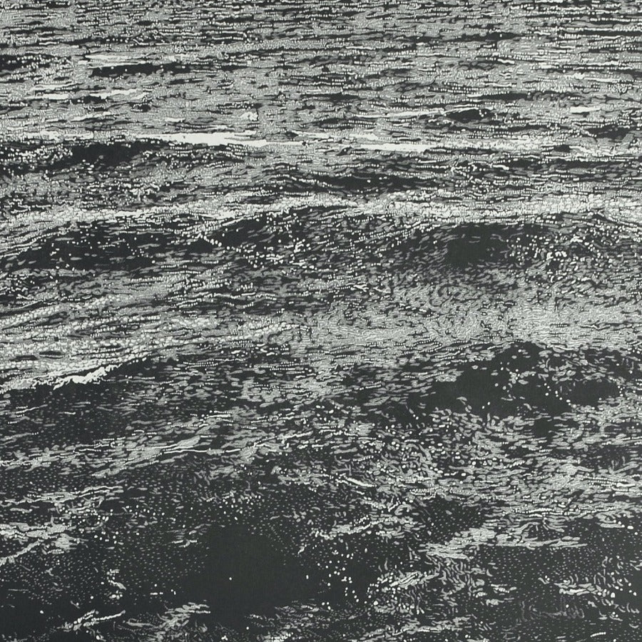 Buy 'Chop Waves', an original mixed media artwork by Trevor Price at The Biscuit Factory. Image shows a detail shot of a larger black and white print of small waves in a calm sea