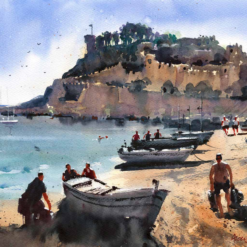 Buy 'Coastal Fort, Catalonia', a framed watercolour painting by Alan Smith Page. Image shows a watercolour painting of a beach scene with small boats and people upon the sand leading the eye from the foreground towards large beige castle grounds upon a hill in the background.