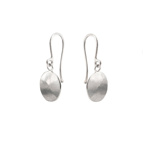 Buy 'Silver Droplet Earrings' handcrafted earrings by Sarah Ruth Stanford. Image shows a pair of silver drop earrings with a single subtly bevelled silver disc forming the drop on each. The background is white