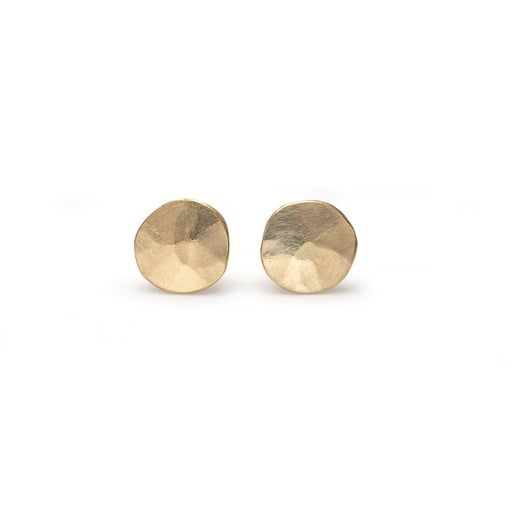 Buy 'Gold Droplet Studs' recycled gold earrings by Sarah Ruth Stanford. Image shows a pair of stud earrings sat on a white background. The earrings are displayed as a pair of subtly bevelled gold discs sat up right