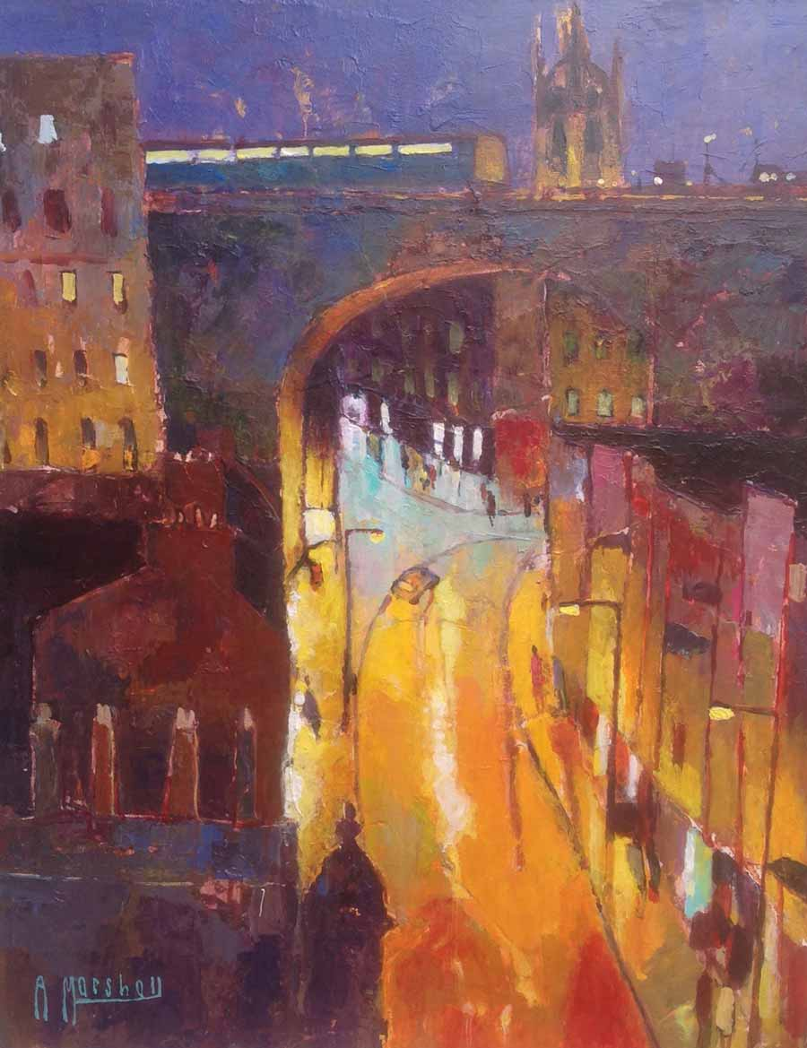 Buy 'Dean Street Lights', an original painting by British artist Anthony Marshall at The Biscuit Factory, Newcastle upon Tyne.