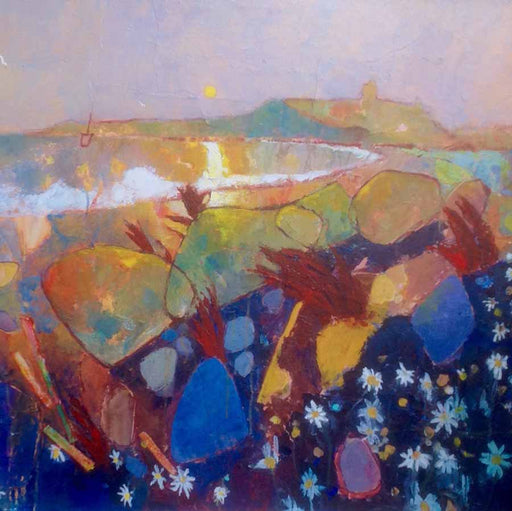 Buy 'Dunstanburgh and Daisies', an original painting by British artist Anthony Marshall at The Biscuit Factory, Newcastle upon Tyne.