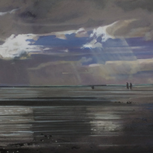 Buy 'Dog Walkers, Budle Bay', a coastal landscape by Graham Rider at The Biscuit Factory. Image shows a painting of a beach scene in the dark with light streaming through a break in the clouds and a couple of figures in the background.