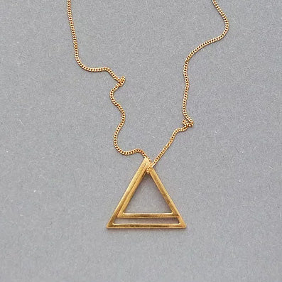 Buy 'Double Triangle Necklace Gold', handmade jewellery by Elin Horgan at The Biscuit Factory