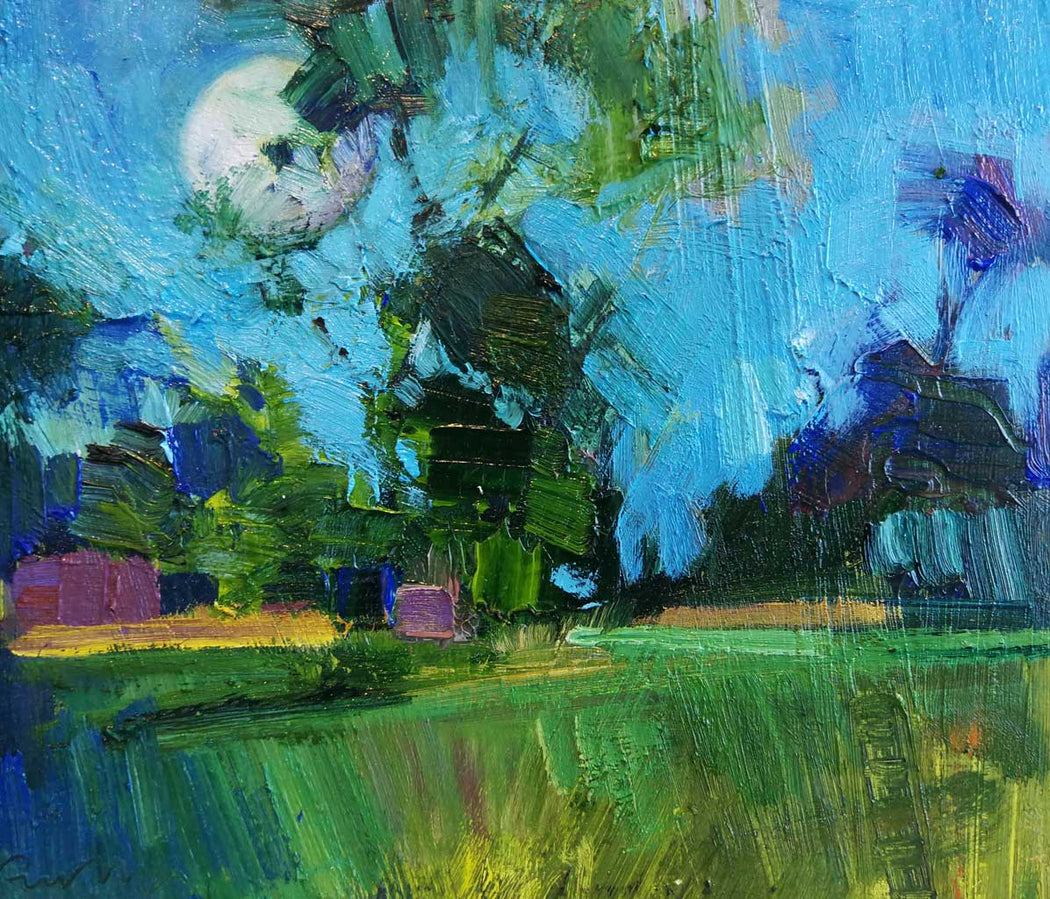 Buy 'Full Moon, Summer Twilight' an original oil painting by Emerson Mayes at The Biscuit Factory