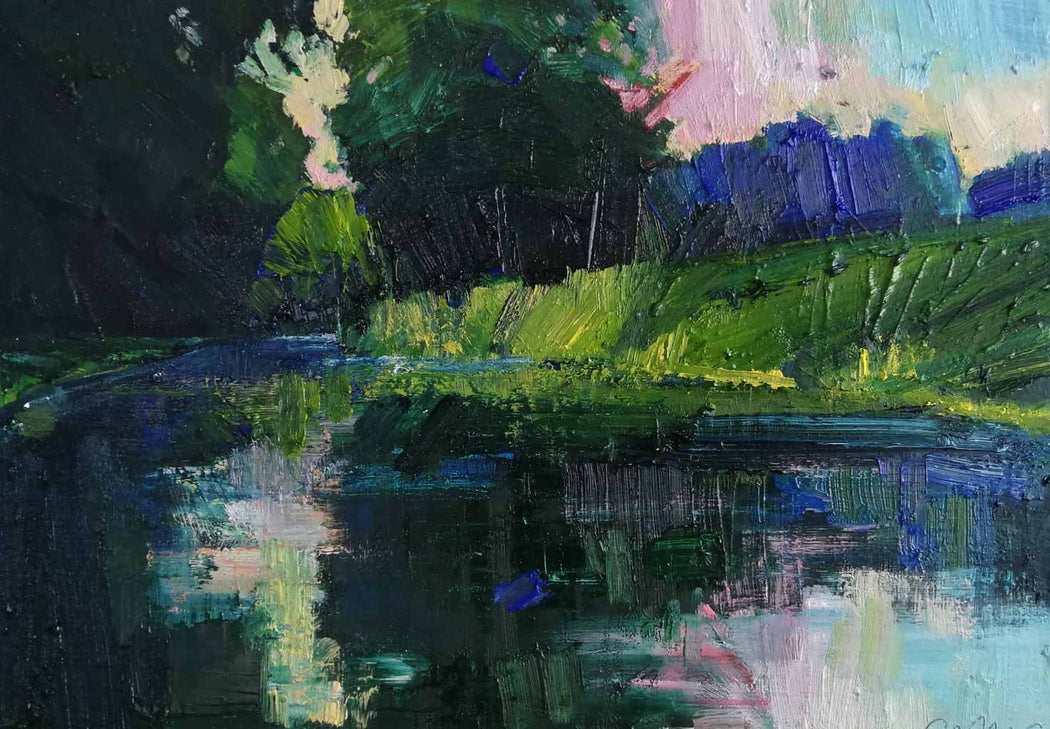 Buy 'River Reflections, August Evening' an original oil painting by Emerson Mayes at The Biscuit Factory
