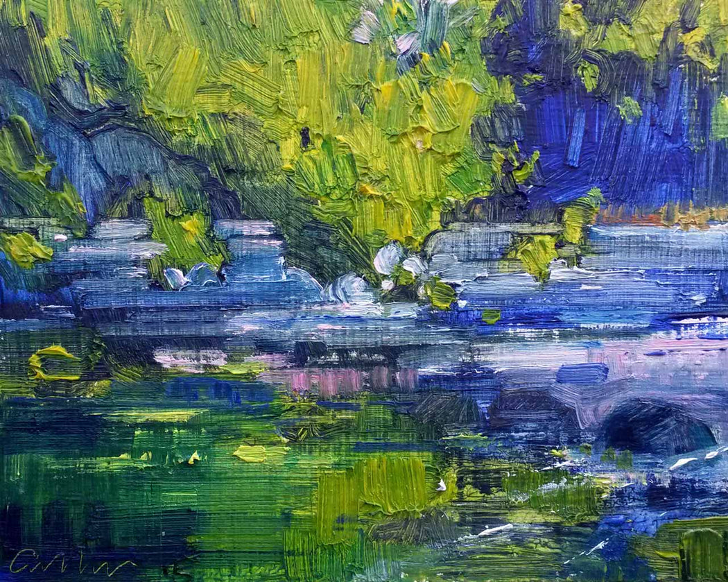 Buy 'River Reflections, May' an original oil painting by Emerson Mayes at The Biscuit Factory