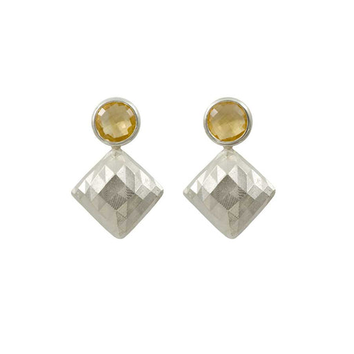 Square Earrings with Citrine
