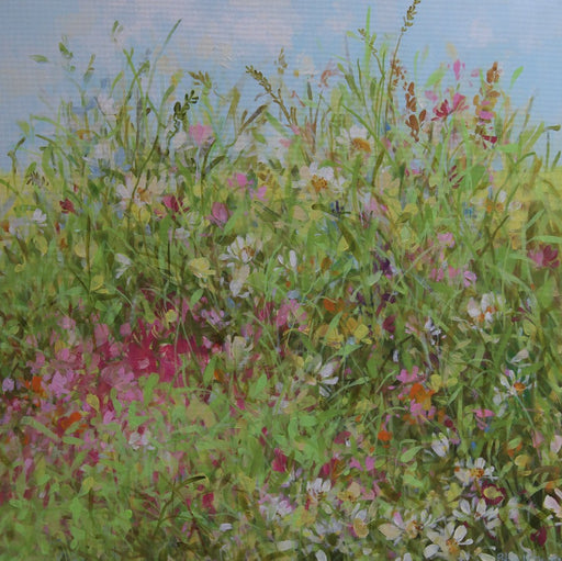 Buy 'Field Border', a spring landscape painting of wild flowers against a blue sky by Fletcher Prentice. Image shows a square painting of pink, white, purple and green foliage close up with a section of blue speckled with white to the top of the canvas.