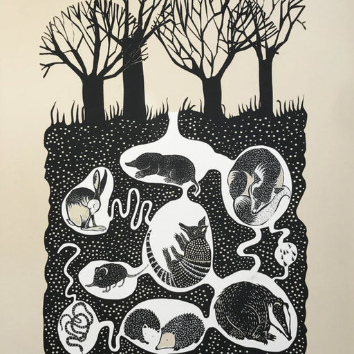 Buy 'Burrows' an animal screen print by Folded Forest. Image shows a cream, white and black screen print of burrows beneath the ground filled with different sleeping animals, at the surface level are 4 bare trees.